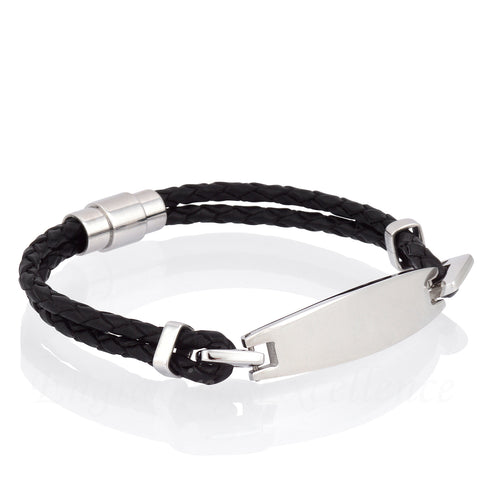 Black Leather I.D Bracelet 360 Product Preview