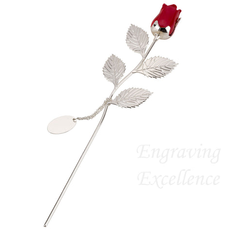Red Rose - Silver Plated, with Engraveable Tag