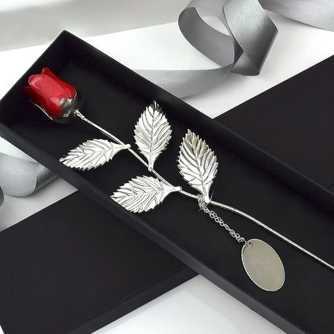 Personalised Red Silver Plated Rose 360 Product View
