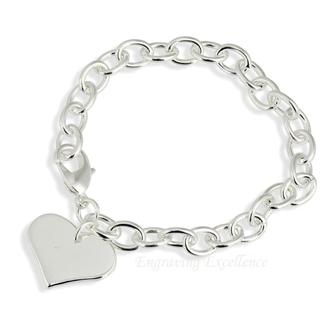 Ladies Heart Bracelet - Silver Plated