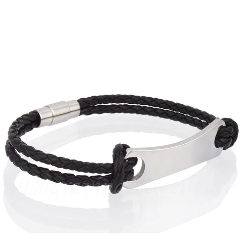 Men's Black PU Leather ID Tag Bracelet