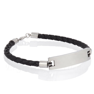 Men's Black PU Leather ID Tag Bracelet - Lobster Clasp