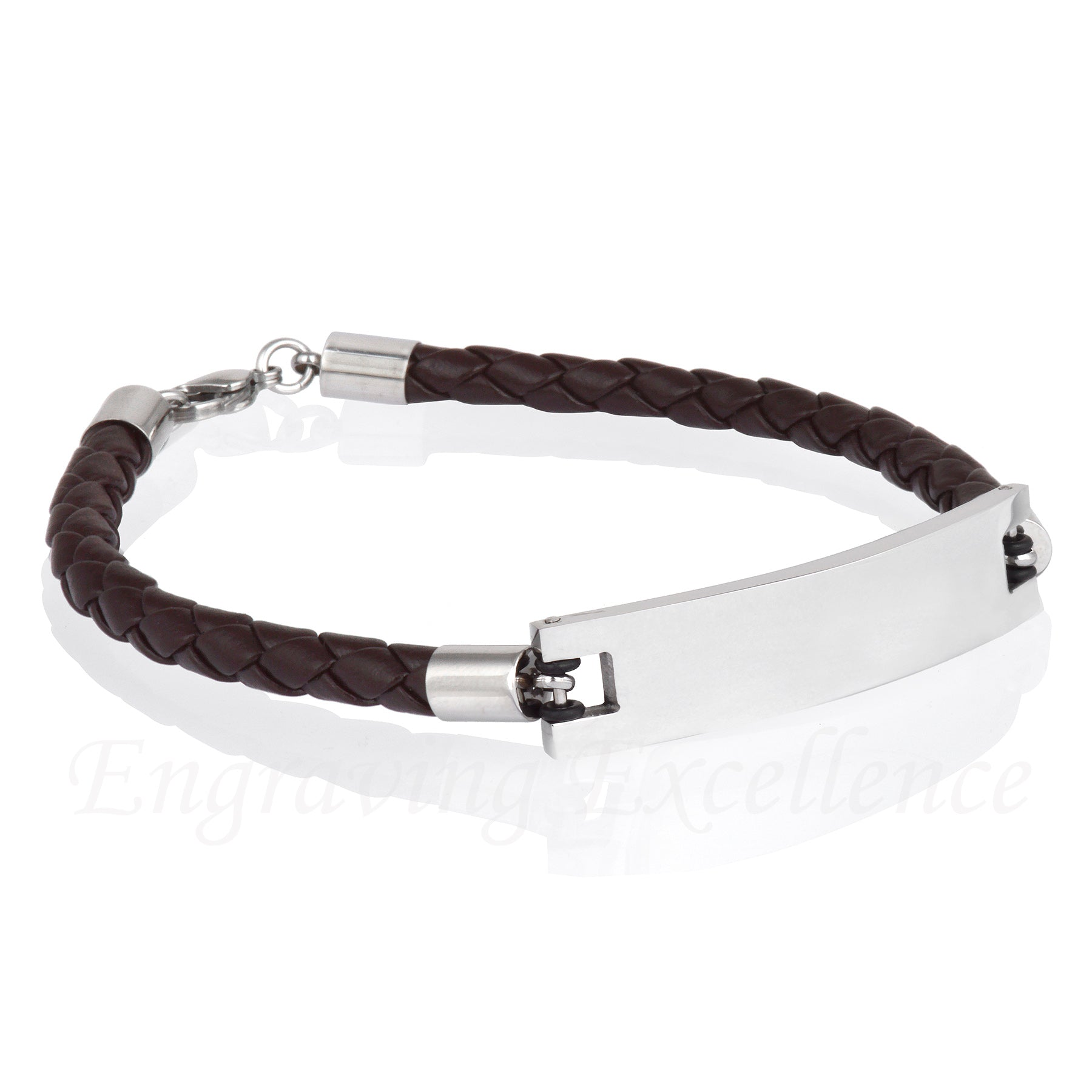 Men's Brown PU leather ID Tag Bracelet with Lobster clasp