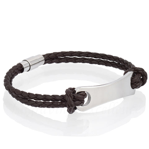 Men's Brown PU Leather ID Tag Bracelet