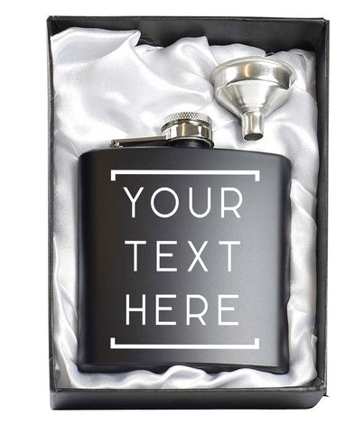 Geometric Custom Black 6oz Hip Flask