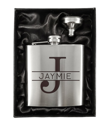 Monogram Silver 6oz Hip Flask