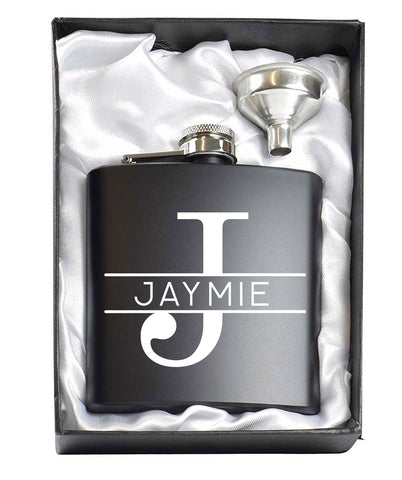 Monogram Black 6oz Hip Flask