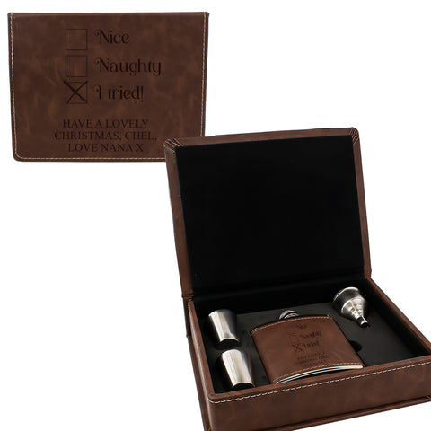 Brown Leather Hip Flask Gift Set - Christmas Design