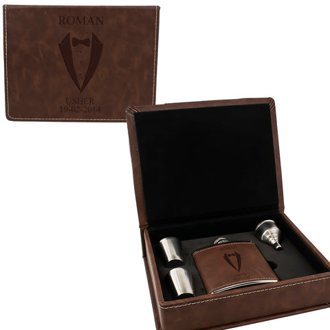 Brown Leather Hip Flask Gift Set - Wedding Suit Design
