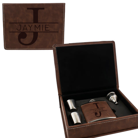 Brown Leather Hip Flask Gift Set - Monogram Design