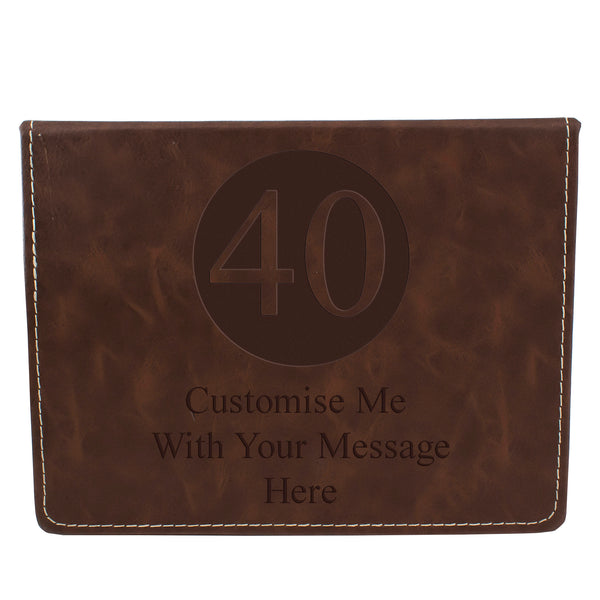 Brown Leather Hip Flask Gift Set - Happy Birthday Style 1