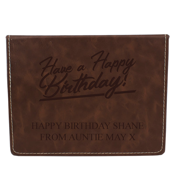 Brown Leather Hip Flask Gift Set - Happy Birthday Style 2