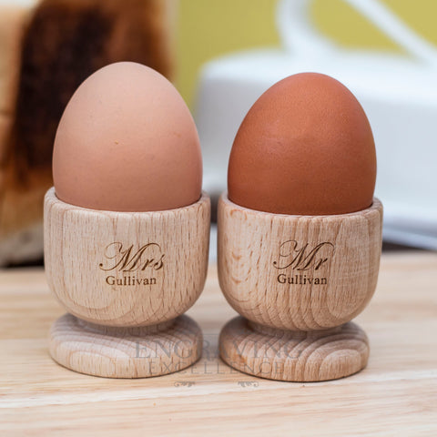 Mr & Mrs Wood Egg Cups