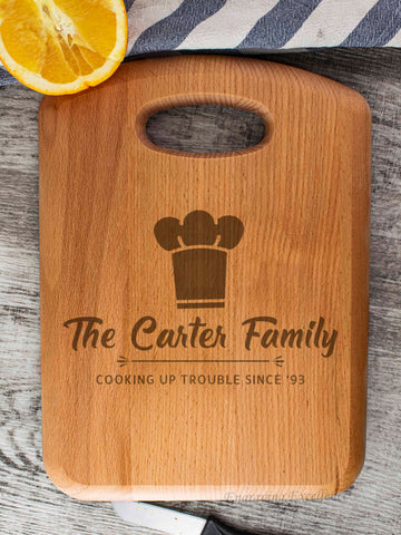 Beech Wood Chopping Board - Chef Hat Design