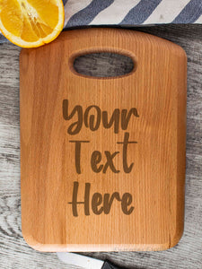 Beech Wood Chopping Board - Personalised With Your Own Text