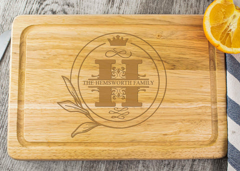 Wooden Chopping Board - Crown Monogram Design