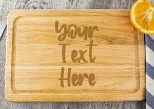 Wooden Chopping Board - Personalised With Your Own Text