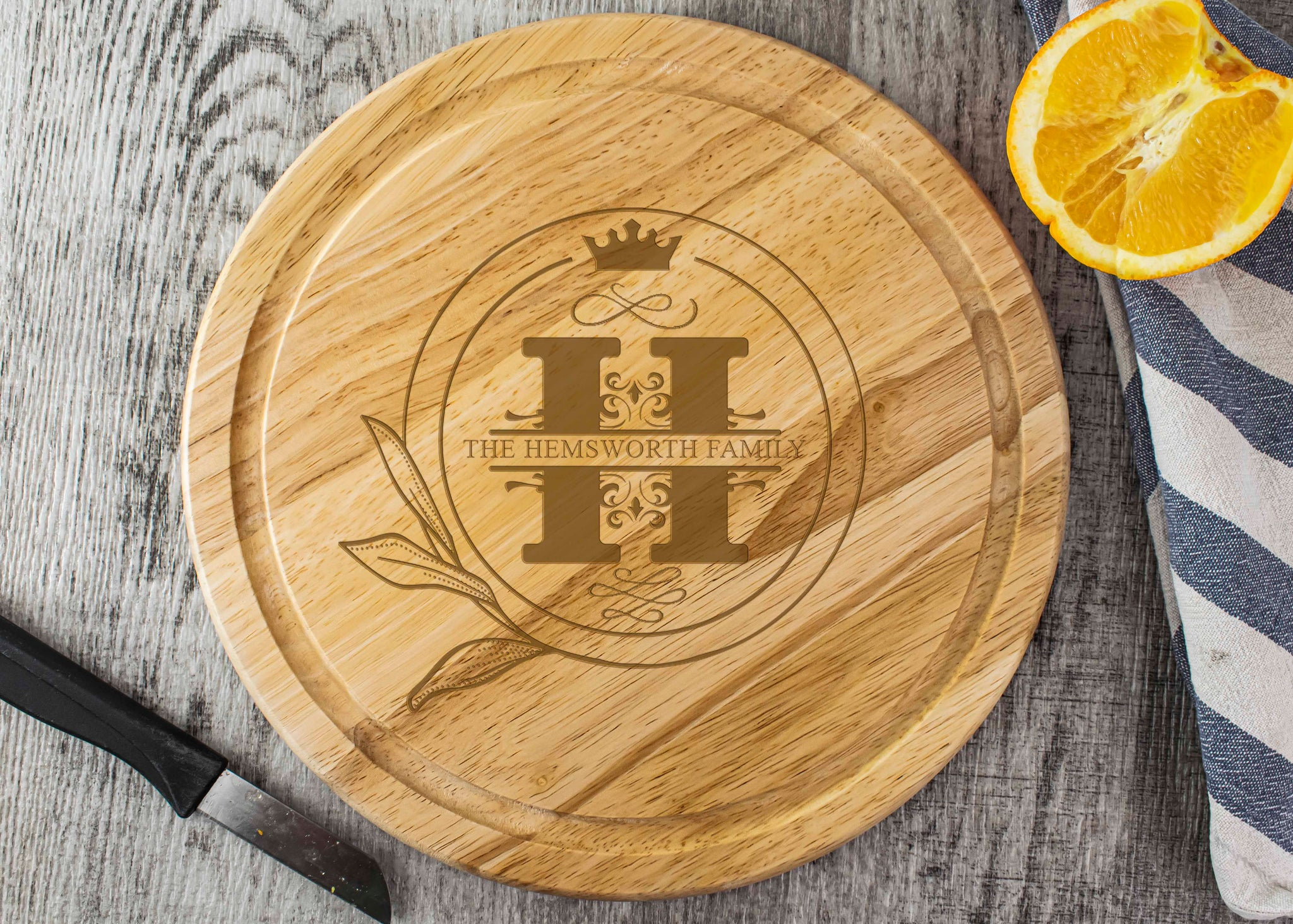 Round Wooden Chopping Board - Crown Monogram Design