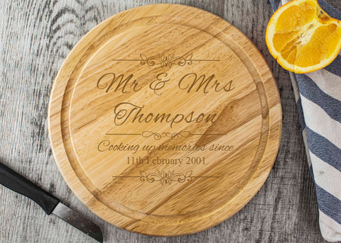 Round Wooden Chopping Board - Mr & Mrs Design