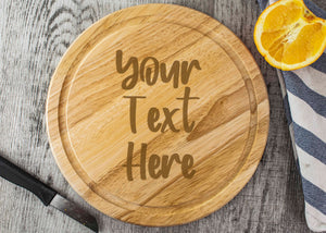 Round Wooden Chopping Board - Personalised With Your Own Text