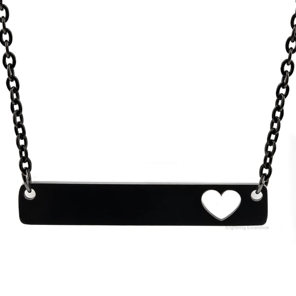 Personalised Bar Necklaces with a Heart Cut Out