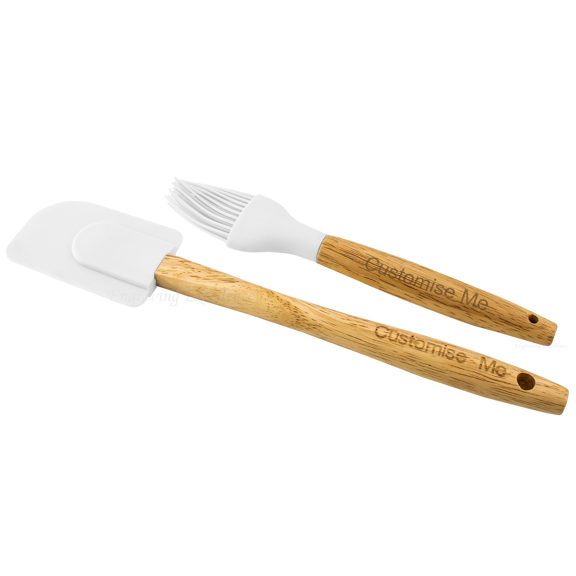 Spatula and a Basting Brush - White Set