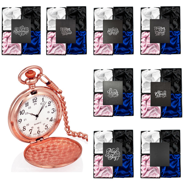 Rose Gold Pocket Watch in a Wedding Printed Gift Box