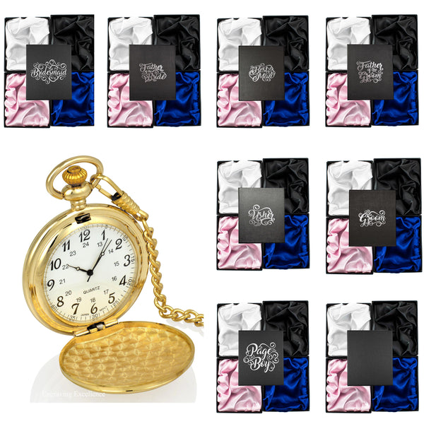Gold Pocket Watch in a Wedding Printed Gift Box