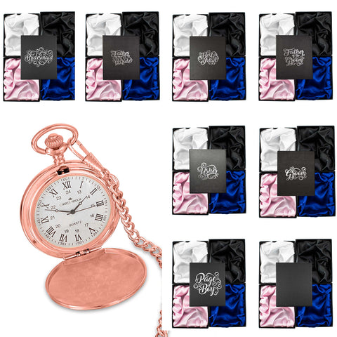 Rose Gold Pocket Watch with Roman Numerals in a Wedding Printed Gift Box