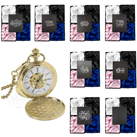 Gold Mechanical Roman Pocket Watch in a Wedding Printed Gift Box