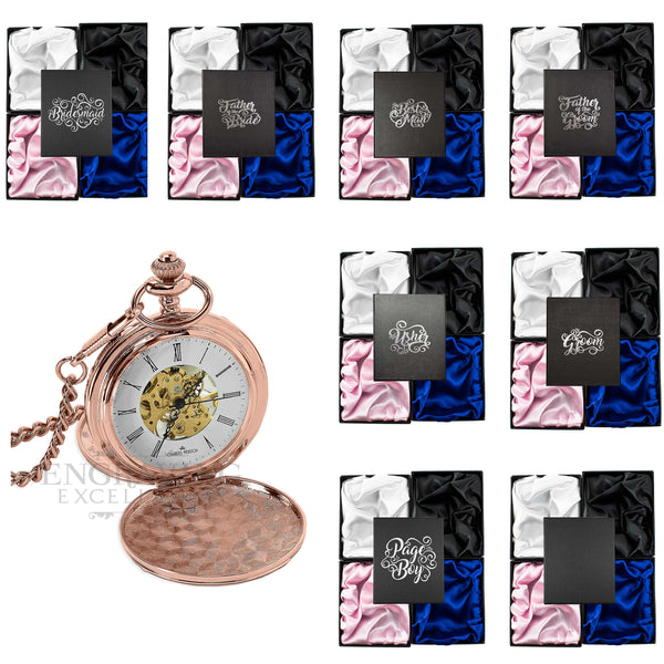 Rose Gold Mechanical Roman Pocket Watch in a Wedding Printed Gift Box