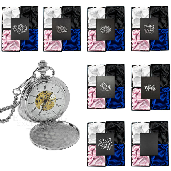 Silver Mechanical Roman Pocket Watch in a Wedding Printed Gift Box