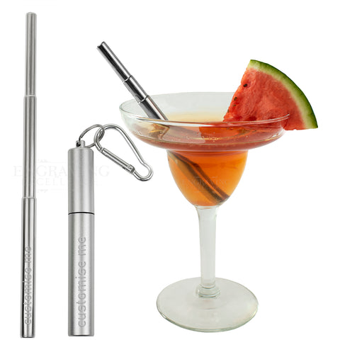Personalised Collapsible Reusable Drinking Straw with a Key Ring Case and Cleaner