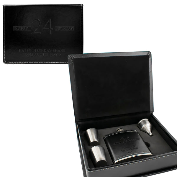 Black Leather Hip Flask Gift Set - Happy Birthday Style 3