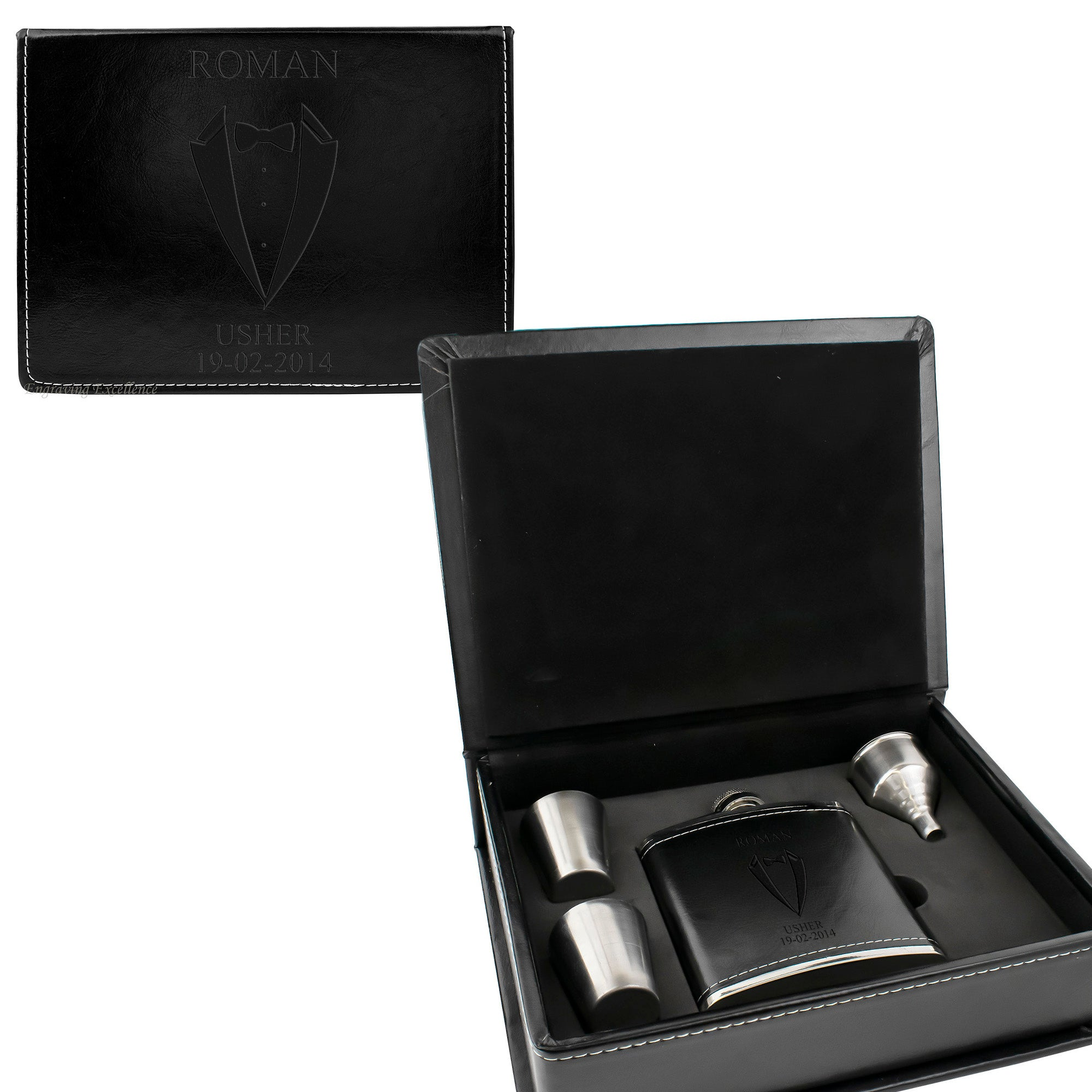 Black Leather Hip Flask Gift Set - Wedding Suit Design