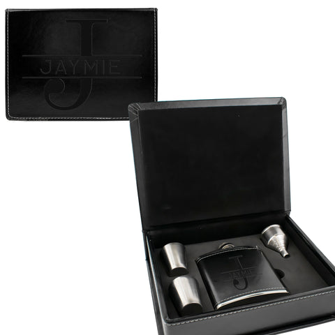 Black Leather Hip Flask Gift Set - Monogram Design