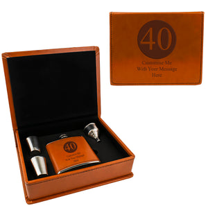 Tan Brown Leather Hip Flask Gift Set - Happy Birthday Style 1