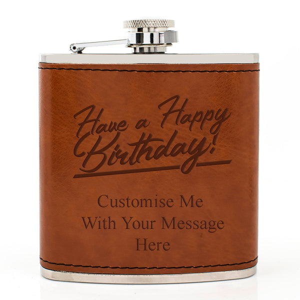 Tan Brown Leather Hip Flask Gift Set - Happy Birthday Style 2