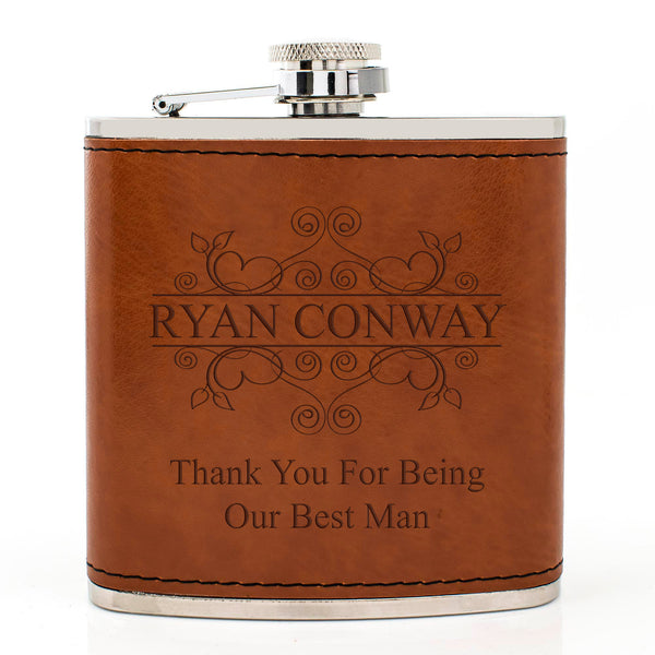 Tan Brown Leather Hip Flask Gift Set - Wedding Flourishes Design