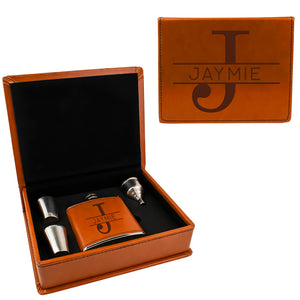 Tan Brown Leather Hip Flask Gift Set - Monogram Design