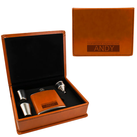 Tan Brown Leather Hip Flask Gift Set - Boxed Name