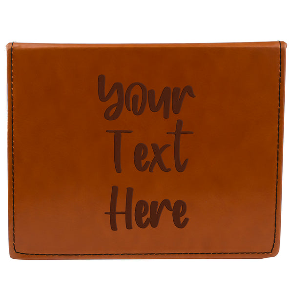 Tan Brown Leather Hip Flask Gift Set - Your Text Here