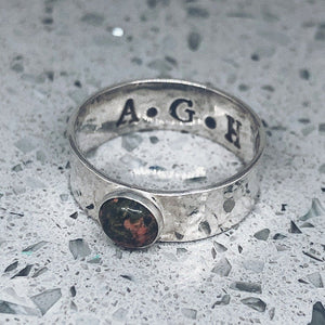 thick gemstone band personalised