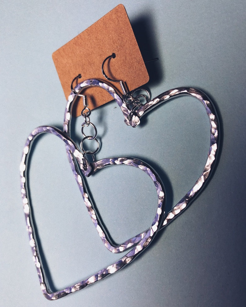 Heart Hammered Earrings