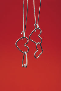 Silver Link Heart Earrings