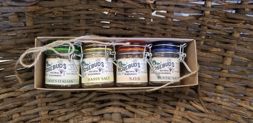 COLORFUL HINGED JAR GIFT SET OF FOUR - our favorite seasoning mixes in cute colorful jars!  Pick from our All Purposed Seasoning Set and Dip Set.