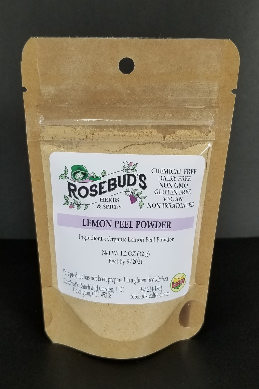 Lemon Peel Powder, Organic (1.2 oz)