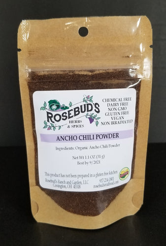 Chili Pepper Powder, Ancho, Organic (1.1 oz)