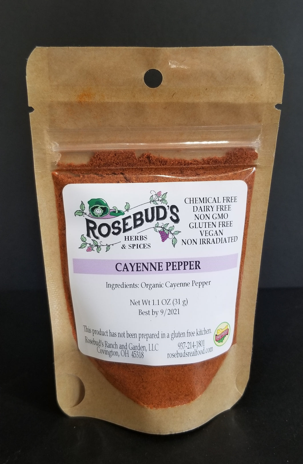 Chili Pepper Powder, Cayenne, Organic (1.1 oz)