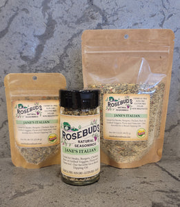 JANE'S ITALIAN - An amazing blend of garlic and herbs.  Great for Steaks, Burgers, Chicken, Raw or Grilled Veggies, Pizza and Pasta too! Our favorite for a Bread Dipping Oil.